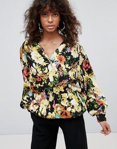 Рубашка с цветочным принтом Minimum - Черный