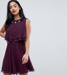 Короткое приталенное платье с 3D-отделкой ASOS PETITE - Фиолетовый