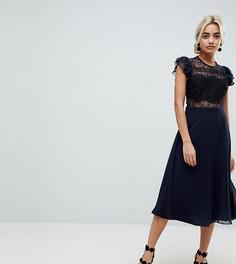 Платье миди с кружевным топом и рукавами-оборками ASOS PETITE - Мульти