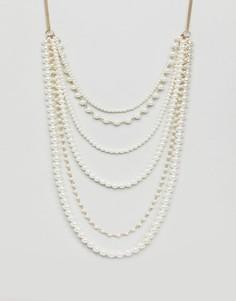 Ожерелье из искусственного жемчуга Monki - Кремовый