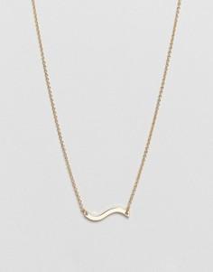 Золотистое ожерелье с подвеской-волной Weekday - Золотой