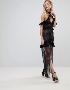 Кружевное платье миди с открытыми плечами For Love and Lemons - Черный