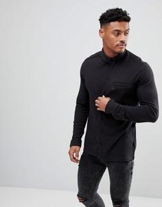 Черная меланжевая рубашка узкого кроя из пике с воротником на пуговицах и логотипом Original Penguin - Черный