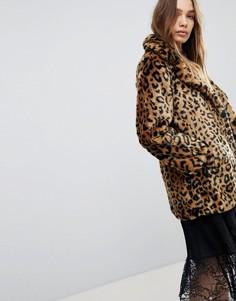 Искусственный полушубок с леопардовым принтом Pimkie - Коричневый
