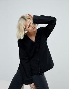 Рубашка без воротника Weekday - Черный
