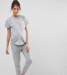 Серый пижамный комплект с запахом Hey Peachy Maternity - Серый