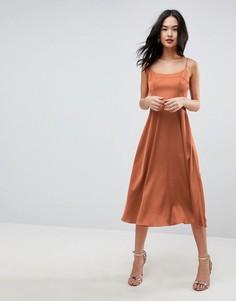 Платье миди на бретелях ASOS - Медный