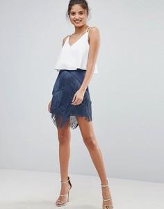Мини-юбка с бахромой ASOS - Серый