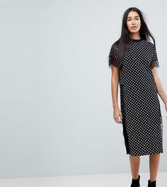 Платье-футболка миди в горошек с кружевной отделкой ASOS TALL - Мульти