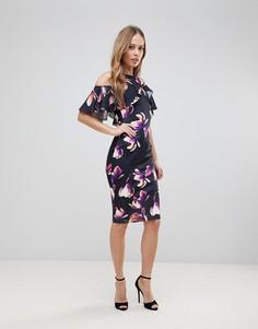 Платье-футляр с открытыми плечами и цветочным принтом Jessica Wright - Мульти