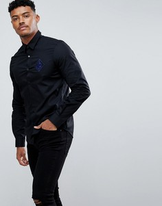Черная приталенная рубашка с вышитым логотипом Versace Jeans - Черный