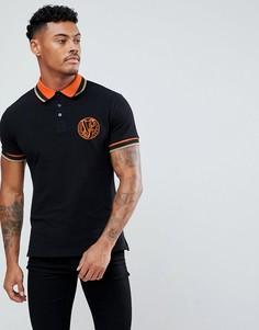 Черная футболка-поло с вышитым логотипом Versace Jeans - Черный