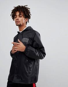 Черная спортивная куртка с капюшоном и вышитым логотипом на спине HUF - Черный