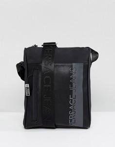 Черная сумка для авиапутешествий с большим логотипом Versace Jeans - Черный