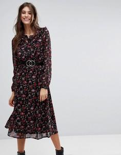 Платье миди с принтом роз Vero Moda - Мульти