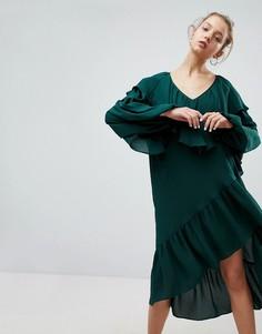 Платье миди с асимметричным подолом и оборками Weekday - Зеленый