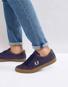 Темно-синие вощеные парусиновые кроссовки Fred Perry Underspin - Темно-синий