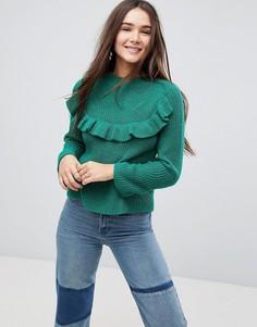 Джемпер с оборкой и рукавами клеш Only - Зеленый