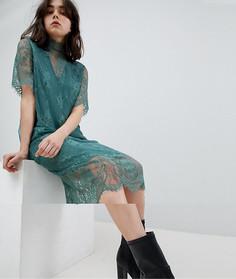 Кружевное платье-футболка миди Pieces - Зеленый