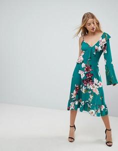Асимметричное чайное платье с запахом и цветочным принтом Boohoo - Мульти