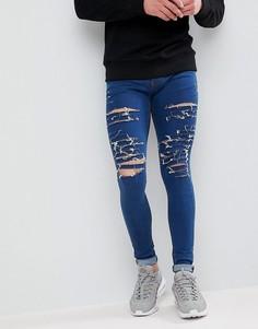 Черные обтягивающие джинсы с рваной отделкой Criminal Damage - Синий