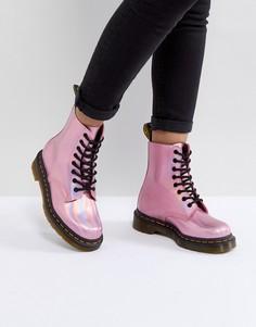 Розовые кожаные ботинки на шнуровке Dr Martens - Розовый