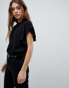 Блузка с оборками Boohoo - Черный
