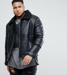 Черная куртка с подкладкой из искусственного меха River Island PLUS - Черный