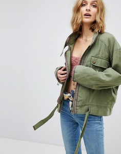 Куртка в стиле милитари Free People Flight Line - Зеленый