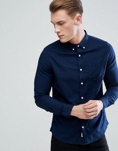 Темно-синяя оксфордская рубашка с длинными рукавами Burton Menswear - Темно-синий