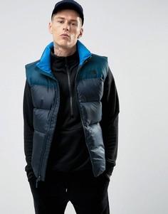 2-цветный синий пуховый жилет The North Face Nuptse3 - Темно-синий
