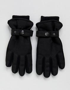 Черные перчатки с подкладкой и ремешком New Look - Черный