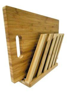 Подставка бамбуковая для доски и пяти ножей Frybest