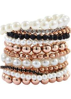 Набор браслетов Жемчужина (12 шт.) (черный/кремовый/розово-золотистый) Bonprix