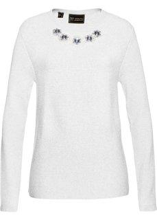 Пуловер со стразами (белый) Bonprix