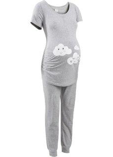 Пижама для будущих и кормящих мам (светло-серый меланж/белый с рисунком) Bonprix