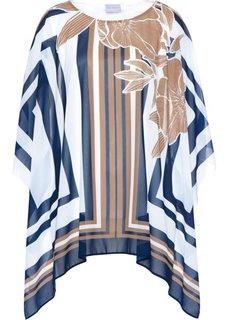 Туника с принтом (белый/серо-коричневый/темно-синий с рисунком) Bonprix