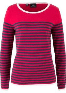 Пуловер в полоску (красный/темно-синий в полоску) Bonprix