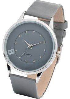 Часы наручные однотонные (серый/серебристый) Bonprix