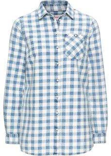 Клетчатая рубашка с длинным рукавом (синий/белый в клетку) Bonprix