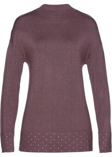 Пуловер со стразами (коричневый) Bonprix