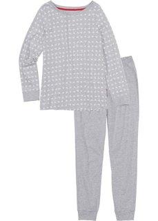 Пижама (светло-серый меланж/кремовый) Bonprix