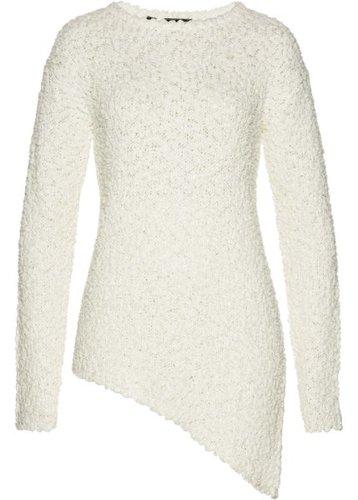 Пуловер с асимметричным нижним краем (белый)