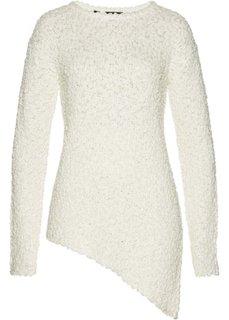 Пуловер с асимметричным нижним краем (белый) Bonprix