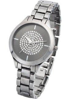 Часы со стразами (черный/серебристый) Bonprix