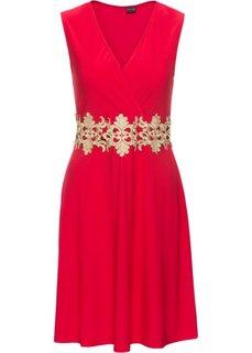 Платье с кружевом (красный) Bonprix