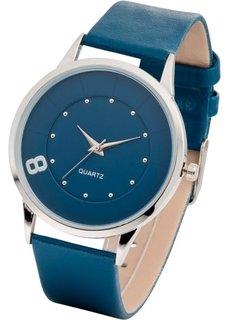 Часы наручные однотонные (темно-синий/серебристый) Bonprix