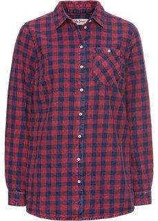 Клетчатая рубашка с длинным рукавом (красный/синий в клетку) Bonprix