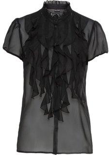 Блузка с оборками (черный) Bonprix