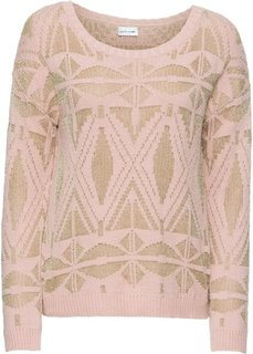 Пуловер с люрексом (розовый) Bonprix